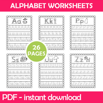 Alphabet Writing Worksheets Instant Download PDF; Preschool, Kindergarten