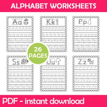 Alphabet Writing Worksheets Instant Download PDF