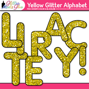 Yellow Alphabet Glitter Clip Art {Great for Classroom Decor & Resources}