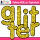 Yellow Alphabet Glitter Clip Art {Glitter Meets Glue}