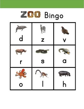 Alphabet Zoo Animal Bingo