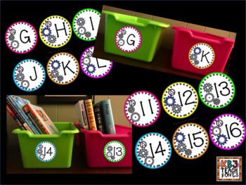 Alphabet and Calendar Numbers Gear, STEAM, STEM Themed Set