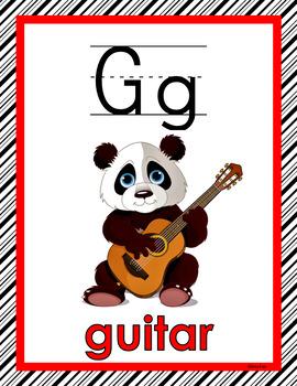 CLASSROOM DECOR: Alphabet, Color Posters, Red & Black, Panda Theme