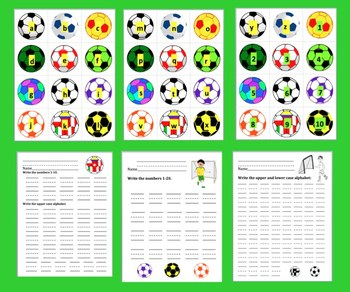 Spring FREE Alphabet and Counting:  Spring Soccer ABC & 123 Match!