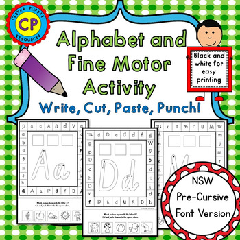 Alphabet and Fine Motor Activity - Write, Cut, Paste, Punch - NSW Font