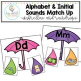 Alphabet & Initial Sounds Match - Umbrellas and Raindrops