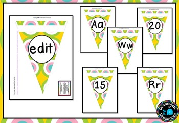 Alphabet and Number Bunting Decor Pack- Pastel Circle Design
