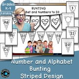 Alphabet and Number Bunting Decor Pack- Striped