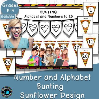 Alphabet and Number Bunting Decor Pack- Sunflower Design