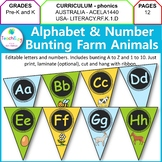 Alphabet and Number Bunting Farm Theme Design
