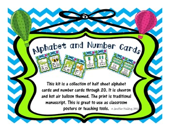 Alphabet and Number Cards (Hot Air Balloon and Chevron Themed)