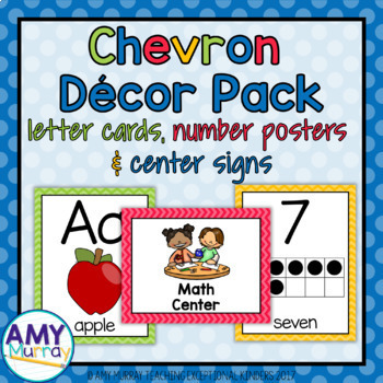 Primary Colors Chevron Decor Pack (Letter Cards, Number Posters, & Center Signs)