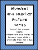 Alphabet and Number Cards with Blue & Green Background