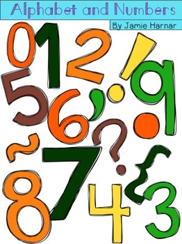 Alphabet and Number Doodle Clipart - Fall Colors