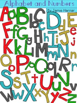 Alphabet and Number Doodle Clipart - Winter Colors
