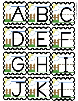 Alphabet and Number Flashcards - Sky, Fence, Ground