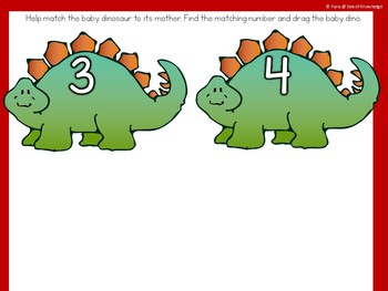Alphabet and Number Match Dinosaurs - Visual Discrimination Boom Cards Digital