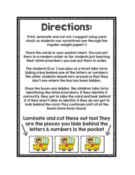 Alphabet and Number Pocket Chart Game (Back to School Theme)