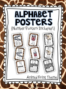 Alphabet Posters for the Classroom Animal Print Theme
