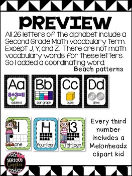 Alphabet and Number Posters Black & White 2nd Grade
