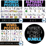 Numbers, Alphabet and Vowel Posters Bundle