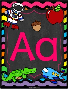Alphabet and Number Posters (Chalkboard and Bright Waves)