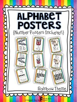 Alphabet Posters for the Classroom Rainbow Theme