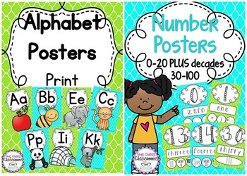 Alphabet and Number Posters - Turquoise & Green