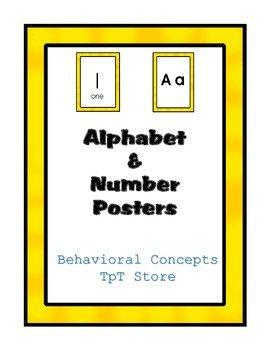 Alphabet and Number Posters / Wall Decorations (Yellow Frame)