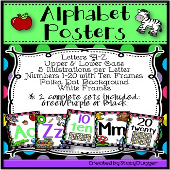 Alphabet and Number Posters (White Frames & Bright Polka Dot Backgrounds)