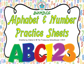 Alphabet and Number Practice Sheets BUNDLE