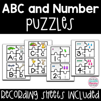 Alphabet and Number Puzzles--Recording Sheet Included