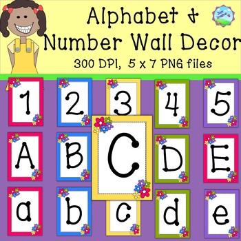 Alphabet and Number Wall Art/Décor-300 dpi -green, reddish, blue, yellow, purple