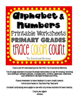 Alphabet and Number Worksheets for Primary