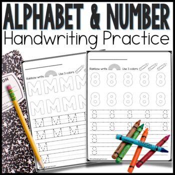 Alphabet and Number Writing Practice Worksheets for Kindergarten