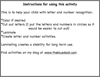 Letters and Numbers template