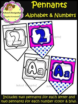 Alphabet and Numbers (0 - 9) - Pennants (School Design)