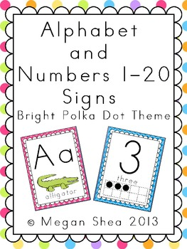 Alphabet and Numbers 1-20 Classroom Signs: Bright Polka Dot Classroom Decor