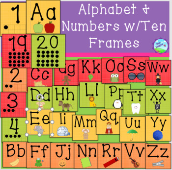 Alphabet and Numbers 1-20 Set w/Ten Frames - yellow, orange, red, green