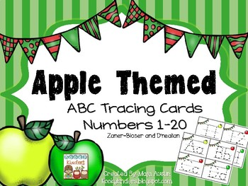 Alphabet and Numbers 1-20 Tracing Cards - Apple Themed