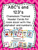 Alphabet and Numbers 1 - 20 posters with Chameleon and Chevron Theme
