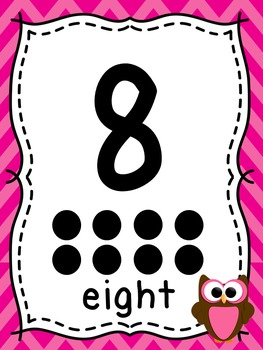 Alphabet and Numbers 1 - 20 posters w/ Owl & Chevron Theme for Classroom Decor