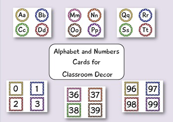 Alphabet and Numbers Cards for Classroom Decor Bundle