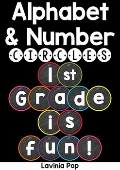 Alphabet and Numbers Chalkboard Circles