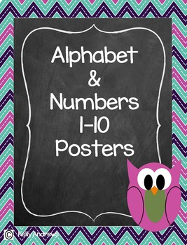 Alphabet and Numbers Chevron  Poster Set
