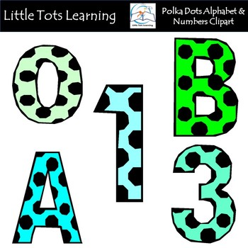 Alphabet and Numbers Clip Art - Polka Dots Alphabet and Numbers Clip Art