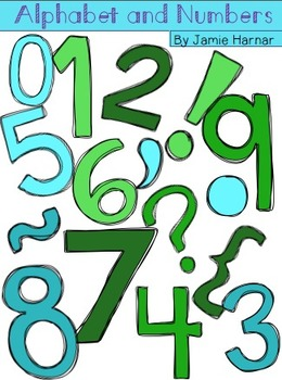 Alphabet and Numbers Doodle Clipart - Greens and Blues