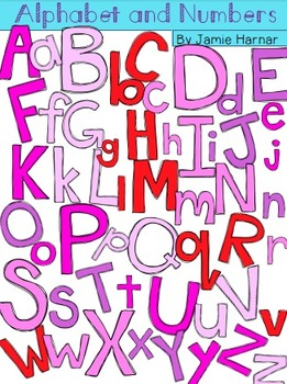 Alphabet and Numbers Doodle Clipart - Pinks