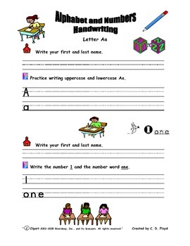 Alphabet and Numbers Handwriting