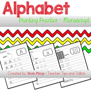 alphabet and numbers manuscript practice sheets